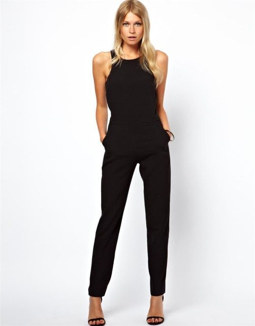 European women clothing hot sale jumpuit&rompers female sleeveless black jumpsuit pants back hollow out casual rompers TT525