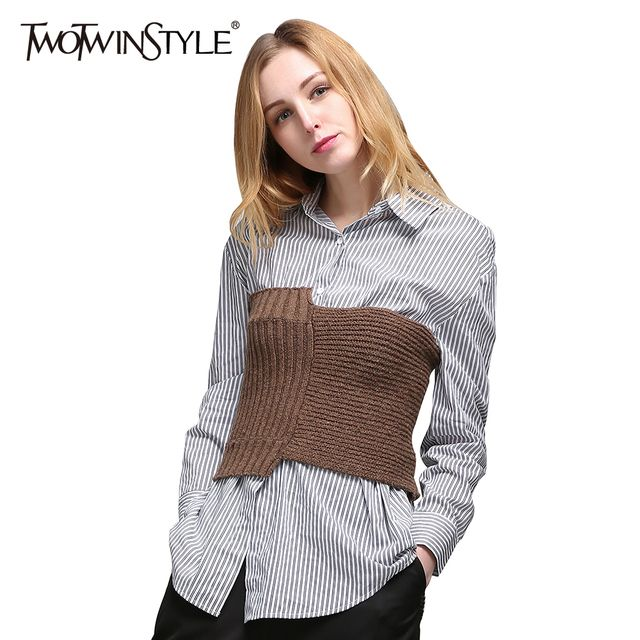 TWOTWINSTYLE 2017 Women Two Piece Set Shirt Knitting Sweater Croset Tube Tops Long Sleeve Striped Blouses Suit Clothes Korean