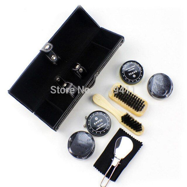 2016 New High Quality 8 Pieces Professional Shoe Care Tool Black & Neutral Shoe Shine Polish Cleaning Smooth Wooden Brushes Set