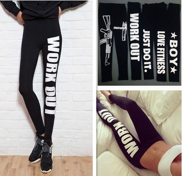 Women Printed Work Out Leggings Gun Harajuku Black Leggings Just Do It Sexy Bottom Design Fitness Leggins Leggings For Female
