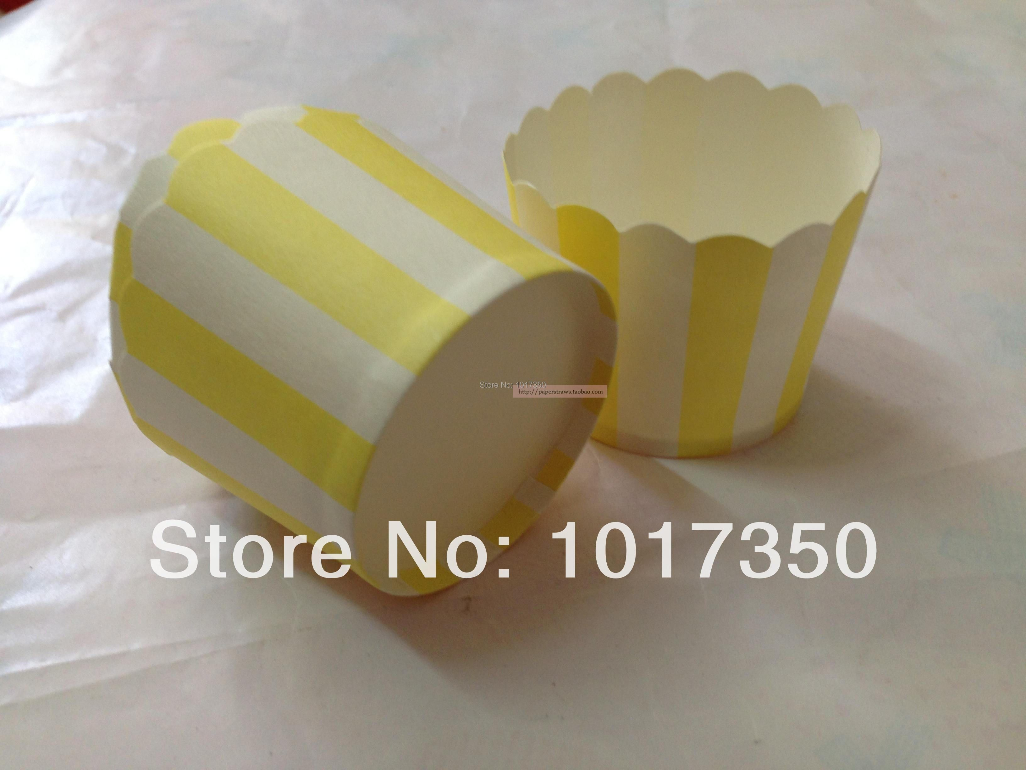 Free Shipping 100pcs yellow stripe paper Cupcake Liners Cupcake Wrappers Baking Muffin Cups cases mold for Wedding Christmas