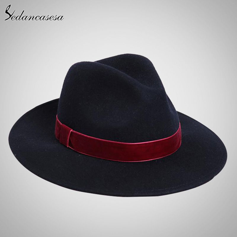 Sedancasesa Spring England Style Vintage Woman Mens Fedora Hat Felt Caps With Red Band Wholesale Black Women Felt Hats FW141967
