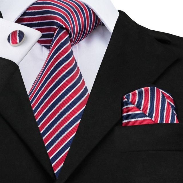 New Arrival Striped Tie 8.5cm Width Multi Color Neck Tie Hanky Cufflinks Set for Business Wedding Party SN-512