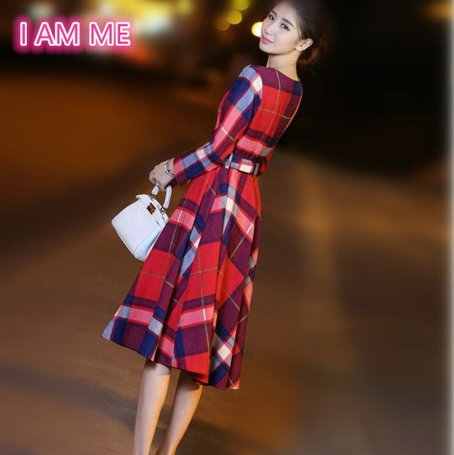 Red Plaid Dresses Women High Quality Autumn Winter Elegant Slim Belt Long Sleeve Plus Size Vintage Dress Vestido Longo De Festa