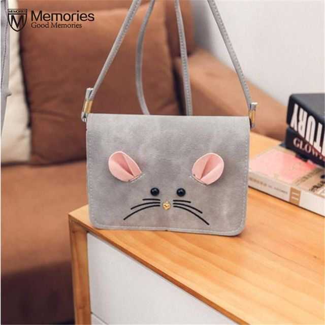 New Women Satchel Fashion Bag Cute Scrub Little Mouse Small Square Package Tote Messenger PU Leather Purse Shoulder Handbag