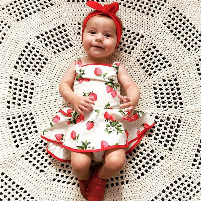Baby Girls Kids Strawberry Princess Romper Dress Lovely Summer Printing Casual Dress Outfit Clothes For 0-2Y Girls