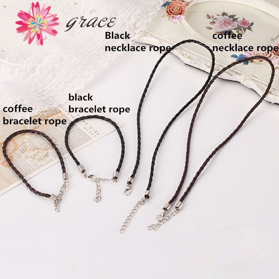 5pcs/lot 2mm Black Rubber Pu Leather Braided Bracelets Necklace Cord With Lobster Clasp Adjustable For Diy Pendants Chain Rope