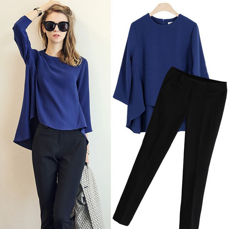 2017 New Fashion Summer Pant Set Women Suit Two-piece Suits Female Trouser Sets Chiffon shirt Casual tops