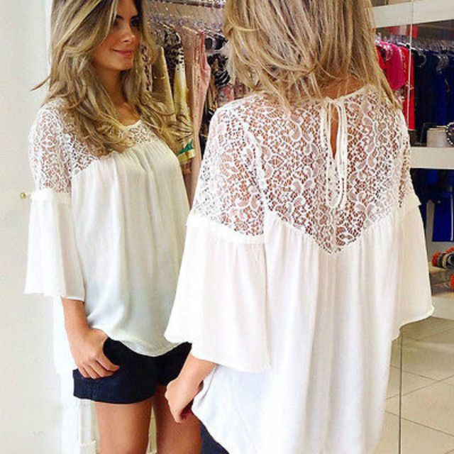Fashion Women Sheer Sleeve Embroidery Lace Crochet  Chiffon Shirt Top Blouse