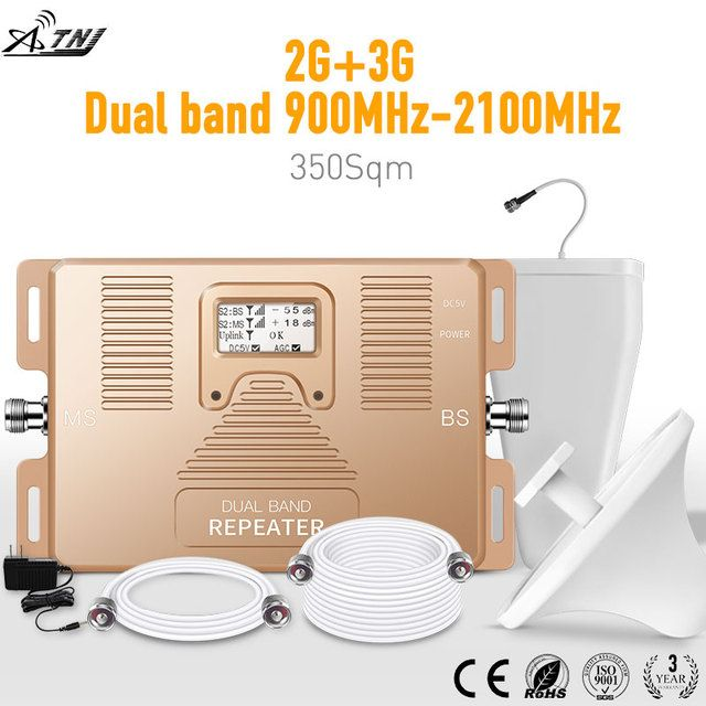 Full Smart !DUAL BAND 900/2100mhz speed 2g 3g mobile signal booster signal cell phone repeater amplifier with  LCD display kit