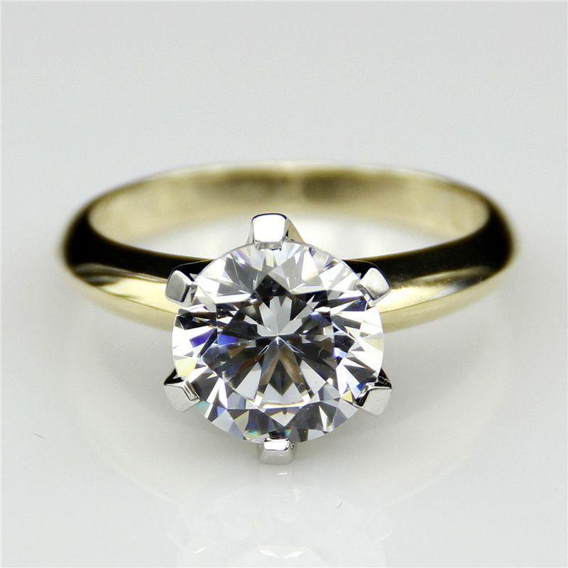 LASAMERO Solitaire Diamond Ring 9k Two Tone Gold 2 Carat Moissanites Lab Grown Diamond Wedding Rings Test as Real Diamond Ring
