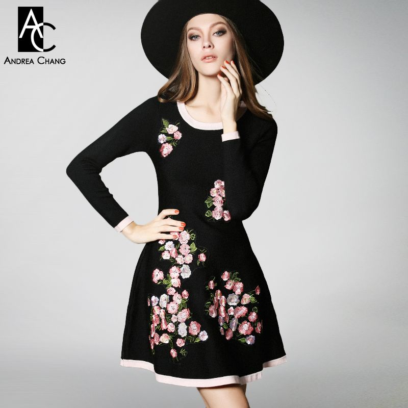 2016 winter spring designer womens dresses black knitted a-line high quality pink flower embroidery fashion cute brand dress