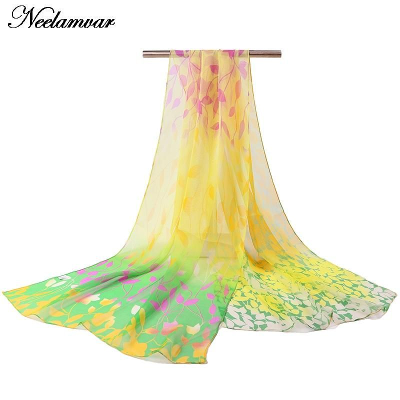 [Neelamvar] fashion thin long georgette silk scarf women's Spring and Autumn oblong soft shawl leaves printing scarves wholesale
