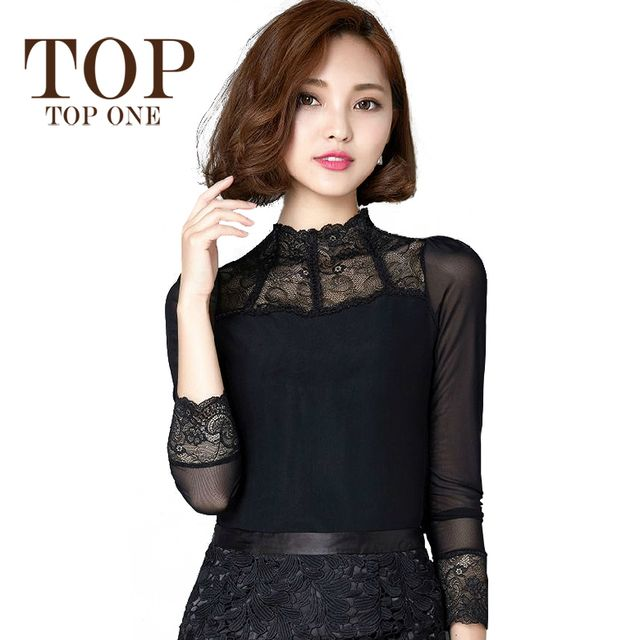Elegant Black Lace Blouse Women 2016 Spring Korean New Fashion Sexy Mesh Patchwork Long Sleeve Women Shirts Womens Basic Tops