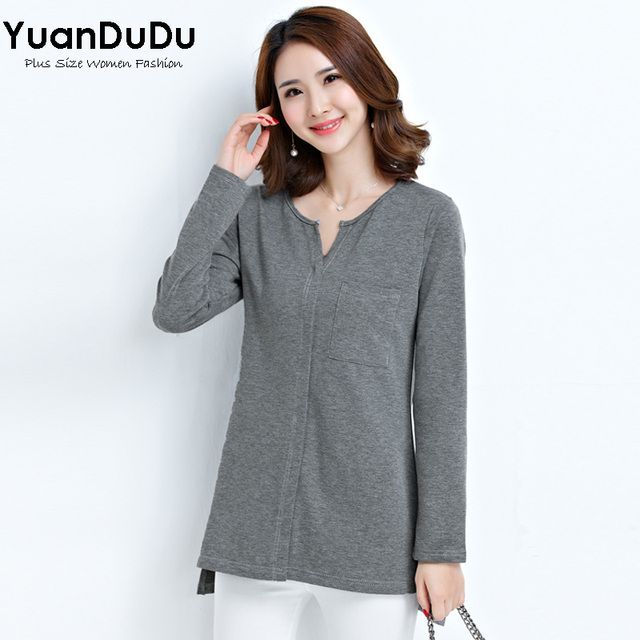 M-5XL Plus Size Womens Long Sleeve Tops 2016 Autumn Winter Fashion Solid Color V-eck Loose Casual Asymmetry Cotton Tshirt Femme