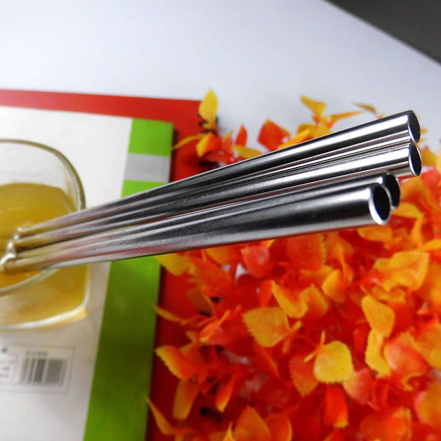 100pcs/lot Metal Drinking Straw Stainless Steel Straw suit for 1 Cup Food Grade for Bar,Mason Jar Xmas Club Party 6x215mm