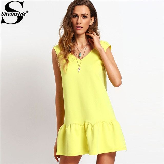 Sheinside Yellow Ruffle V Neck Backless Dress Drop Waist Ladies Elegant Mini Dresses 2017 New Casual Autumn Style Sexy Dress