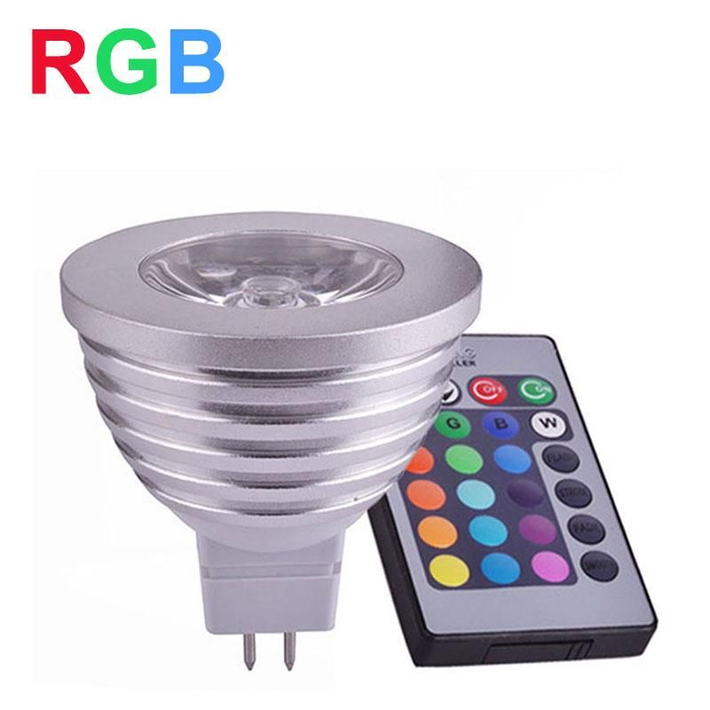 LED RGB Lamp MR16 4W 12V RGB LED Light Bulb High Power LED Spotlight Home Decoration Lighting With IR Remote Controller