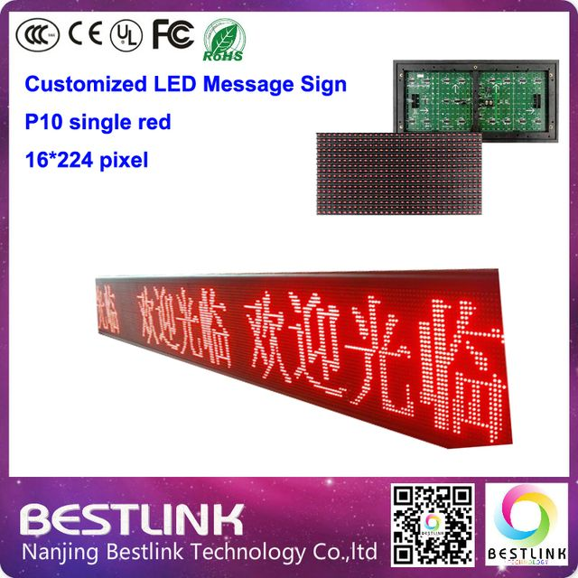 p10 led display screen outdoor message sign board 16*224 pixel with led screen module outdoor led advertising board open sign