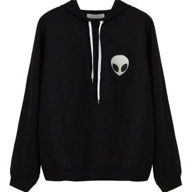 New  Autumn Casual Wear Pullovers Hoodies Women Clothing Alien Print Hooded Long Sleeve Fashion Sweatshirt Plus Size