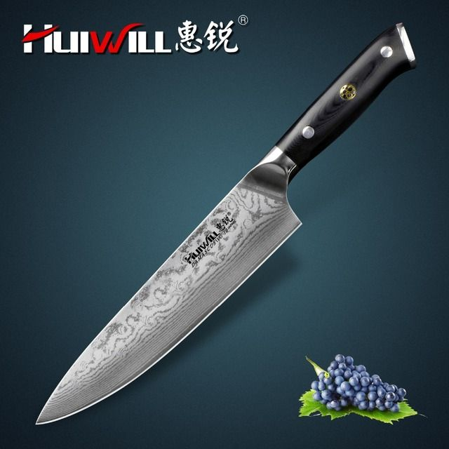 "Huiwill brand VG10 Damascus carbon steel 8"" kitchen chef knife Cleaver knife with Mosaic Rivet Super Quality"