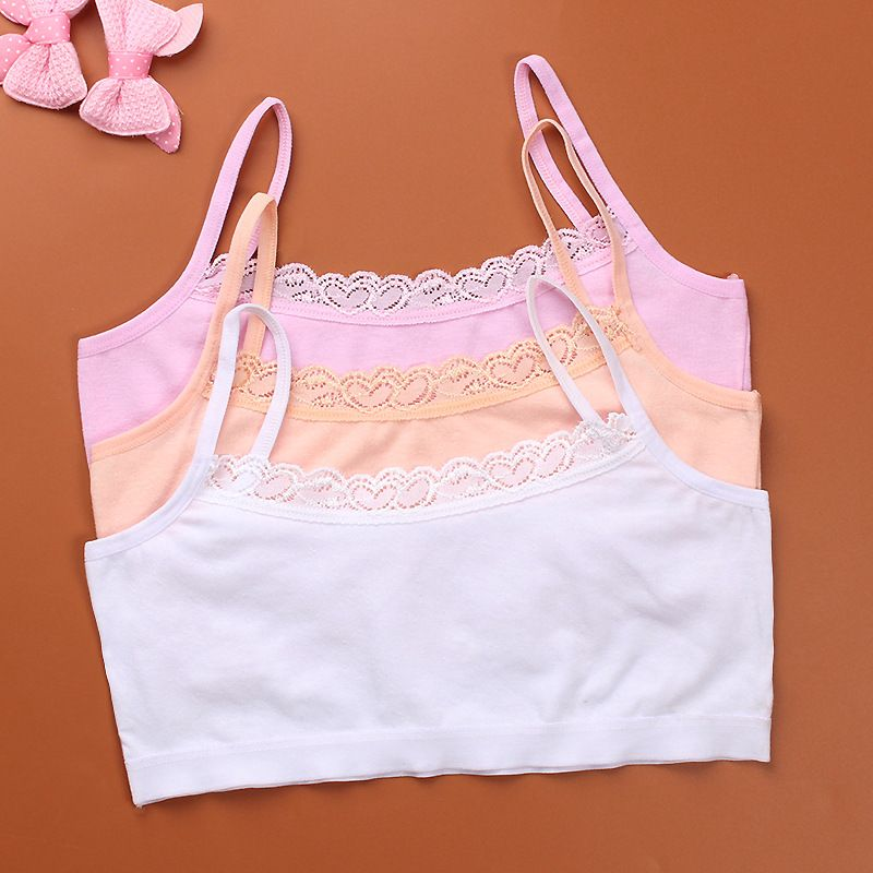 2019 1pc Teenage Underwear For Girl Children Girls Cutton Lace Wireless Young Training Bra For Kids And Teens Puberty Clothing
