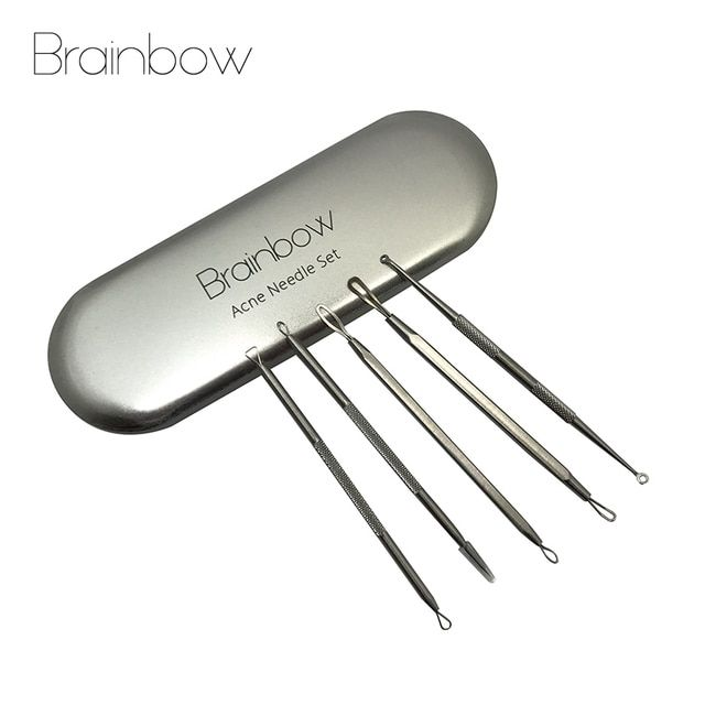 Brainbow 5pcs/pack Acne Needle Kits Stainless Steel Blackhead Removal Comedone Extractor Pimple Removal Tools Facial Cleanser