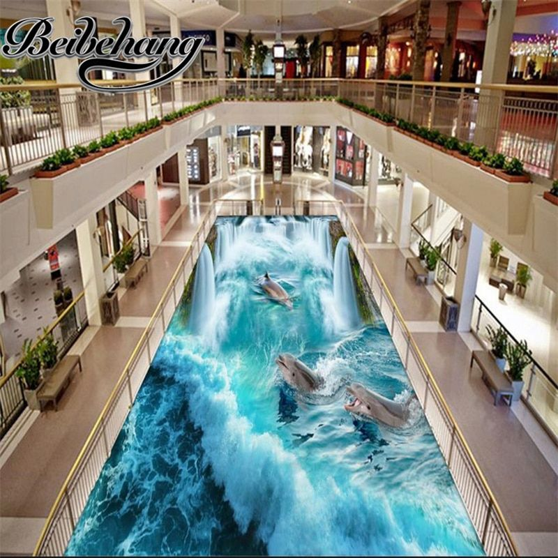 beibehang 3d pvc flooring waterproof Self-adhesive murals wall paper custom Great Falls Beach 3d floor tiles for bathrooms