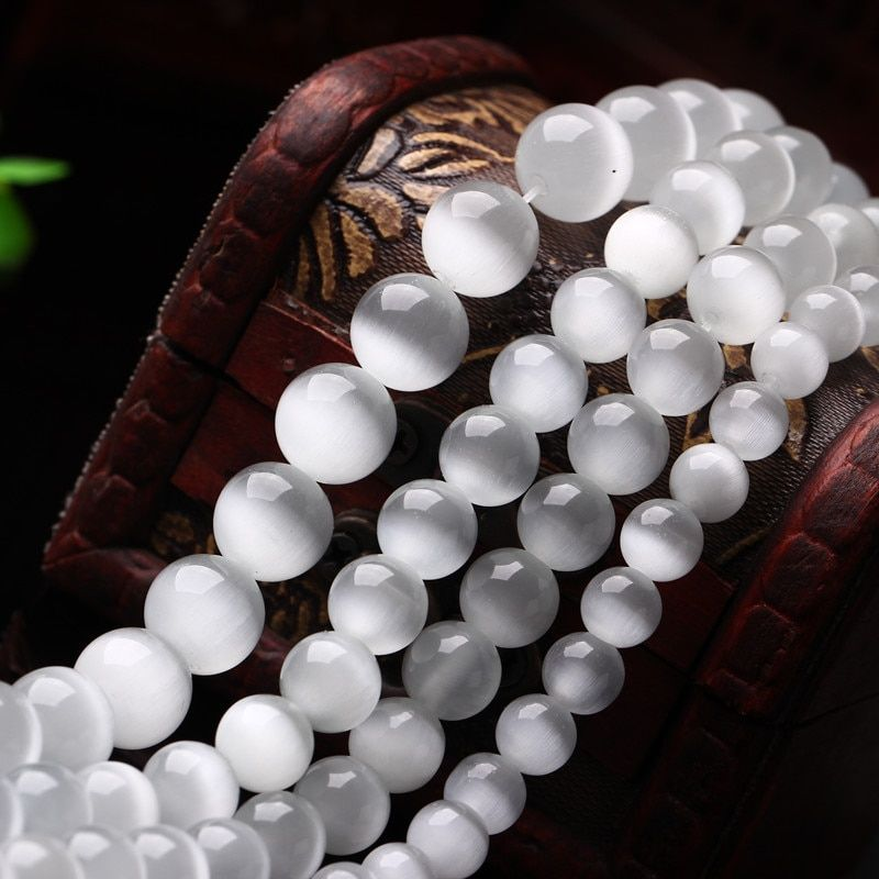 Fashion 4/6/8/10/12MM Natural Stone White Cat's Eye Stone Loose Bead For Jewelry Making  DIY Bracelets & Necklaces
