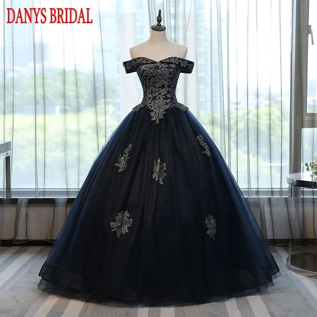 2017 Ball Gown Cheap Quinceanera Dresses Off Shoulder 15 Sweet 16 Puffy Navy Blue Quinceanera Gown Prom Dresses for 15 Years