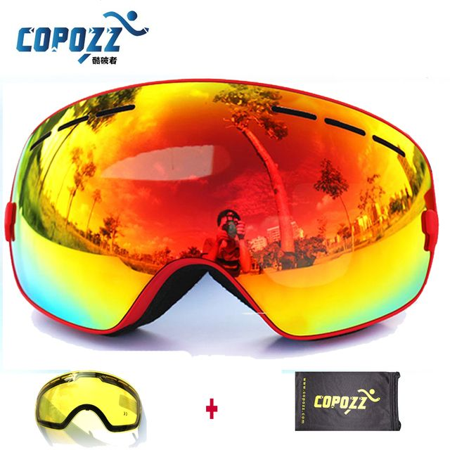 Brand COPOZZ Ski Goggles Double Lens UV400 Anti-fog Big Ski Mask Glasses Skiing Men Women Snow Snowboard Goggles GOG-201+Lens