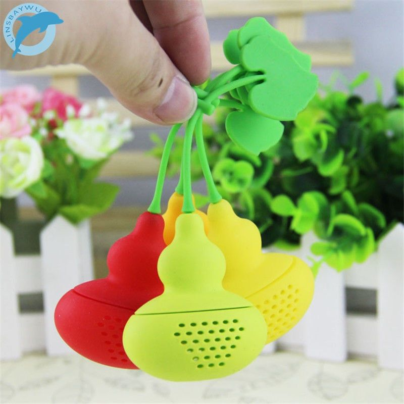 LINSBAYWU Cute Creative Silicone Calabash Tea Infuser Diffuser Loose Tea Leaf Chain Strainer Herbal Filter Free Shipping