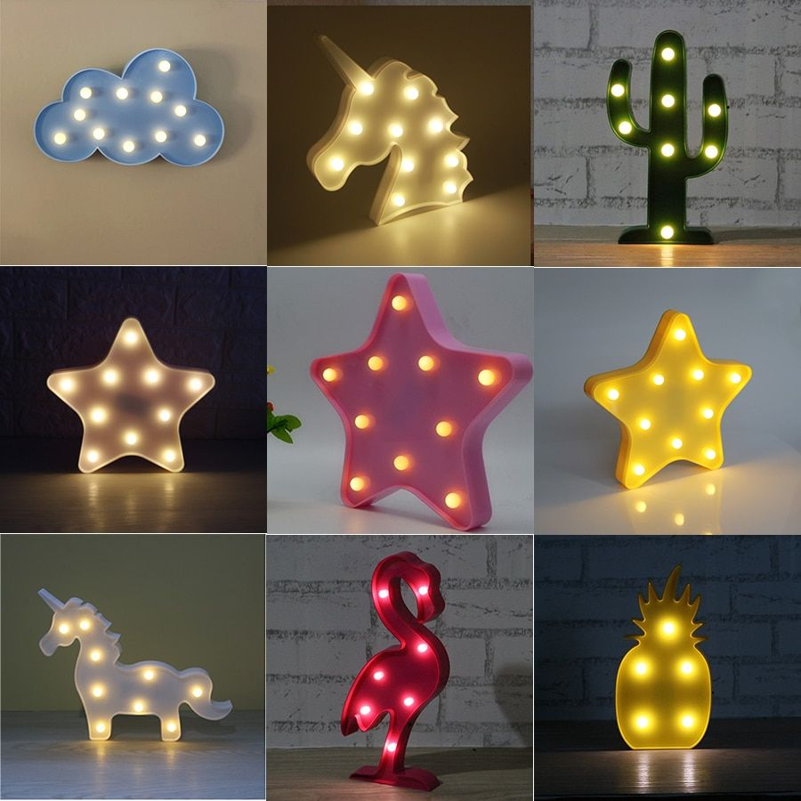 Adeeing 3D Cute Small LED Night Light Bedroom Unicorn Cloud Moon Star Heart Home Decor Battery Powered Wall Lamp