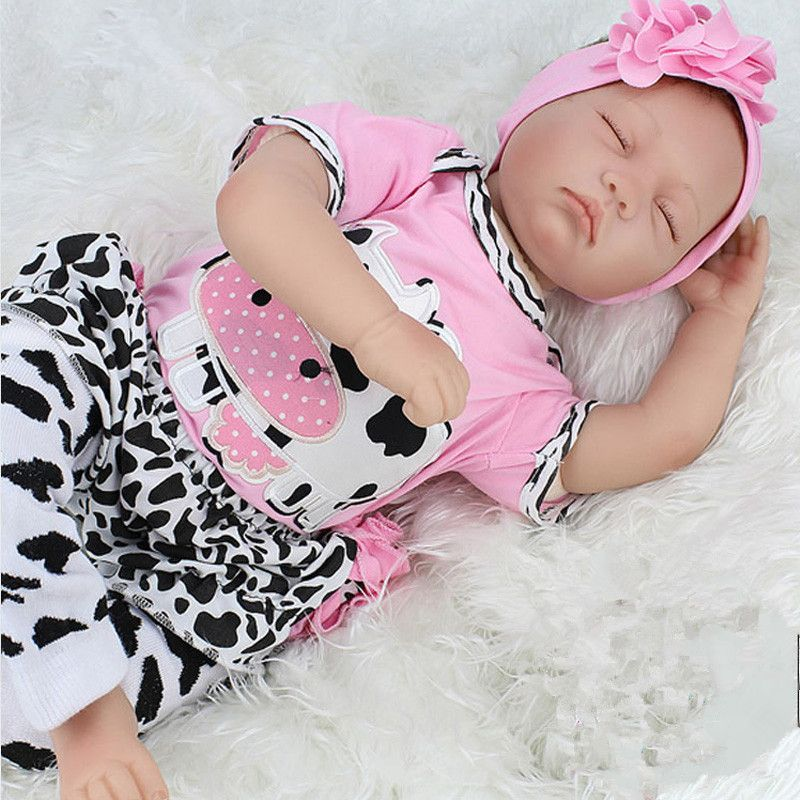 2016 New Arrival Silicone Baby Dolls 22 inch Silicone Reborn Babiy Dolls Sleeping Babies Real Doll Reborn Babies Belly 55cm Toys