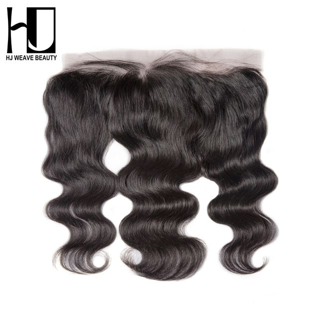 HJ WEAVE BEAUTY Brazilian Lace Frontal Closure Body Wave Remy Hair 13*4 Plucked Natural Hairline 100% Human Hair