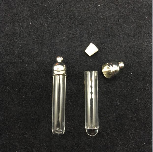 50pieces 29x5mm tube shape glass vial pendant glass pendant wishing glass bottle locket necklace pendant name on rice bottle