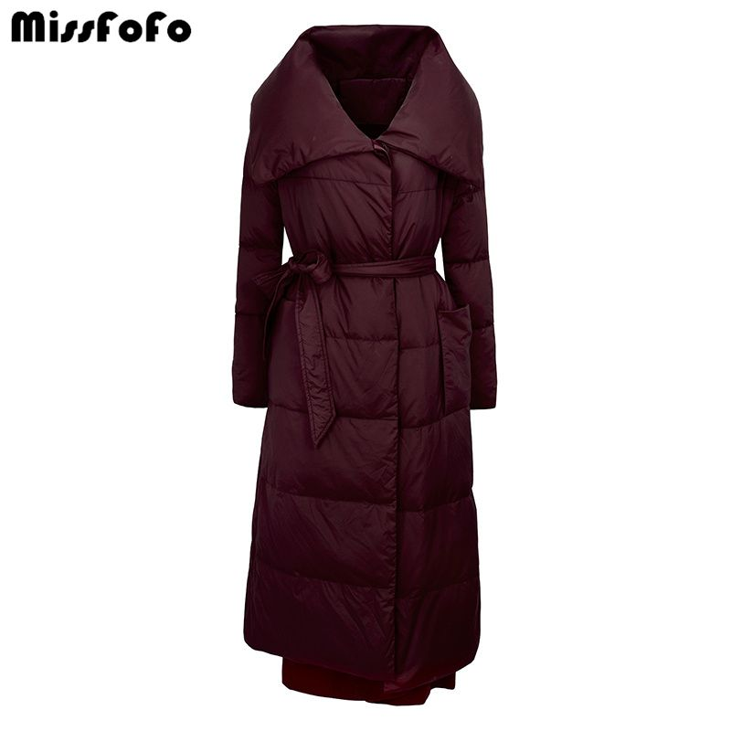 MissFoFo Brand 2016 Winter Down Jackets Woolen slim down patchwork over-the-knee women's down coat long design