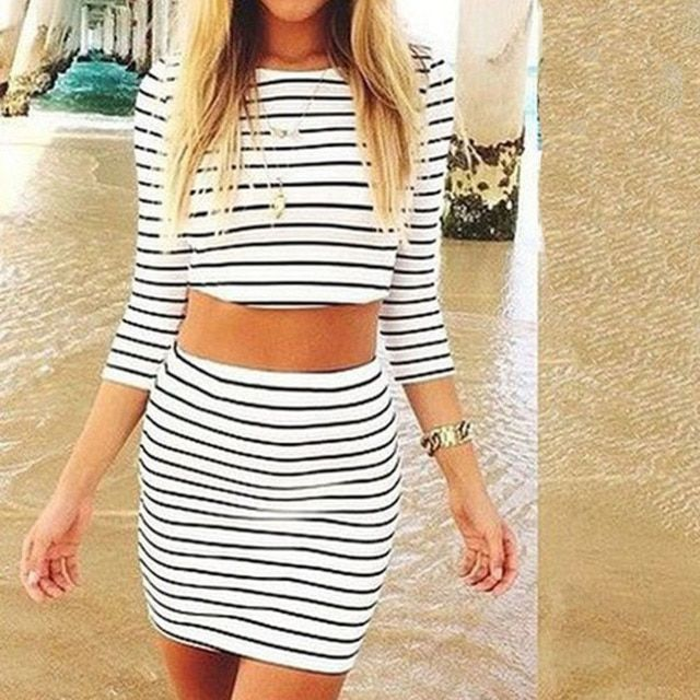 Fashion Women's White Striped Casual Two Pieces Three Quarter Sleeves Sheath Summer Wear print Skirt