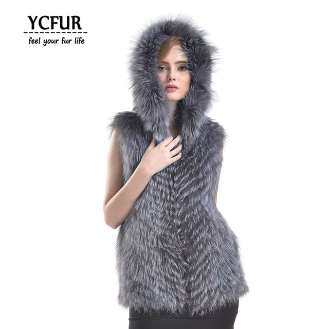 YCFUR Women's Vest Winter 2016 Stripes Natural Silver Fox Fur Waistcoats With Hood Jackets Female Real Fox Fur Gilets Plus Size
