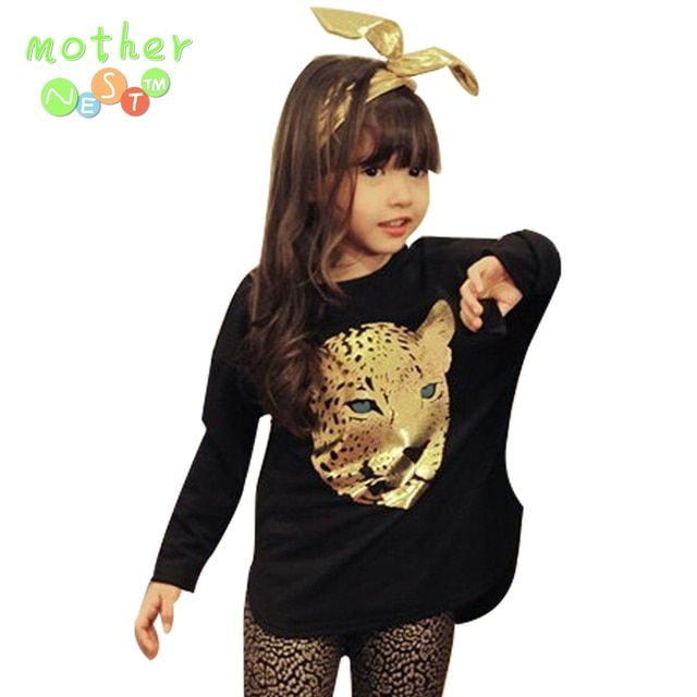 Retail 2017 Fashion Autumn Children Girls Clothing Sets Kids Girl 2pcs Leopard Suits Long sleeve T shirt + Leopard Leggings