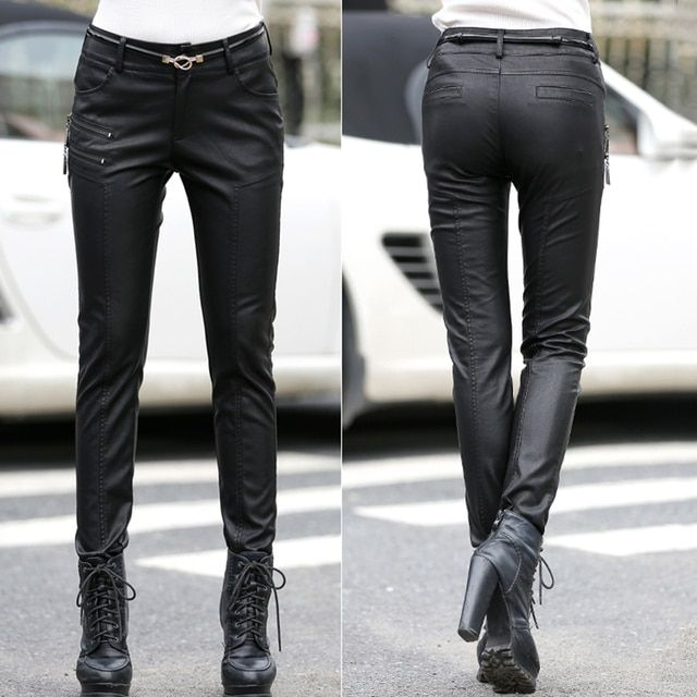 2016 Autumn winter pants women leather black colour pantalon femme Thin slim pencil pants trousers women leather pants