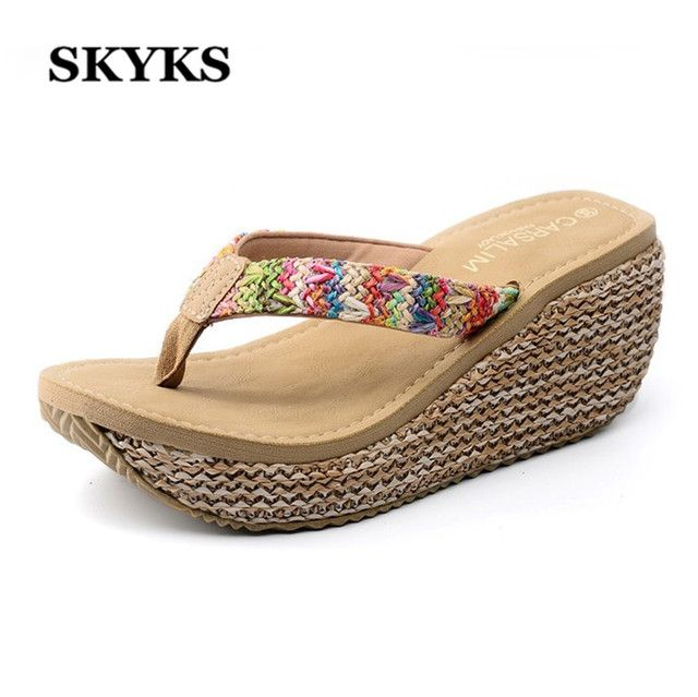 SKYKS  Summer bohemia Women Cane Sandals Wedges high heeled open toe Platform woman female  girl Flip Flops beach slippers shoes