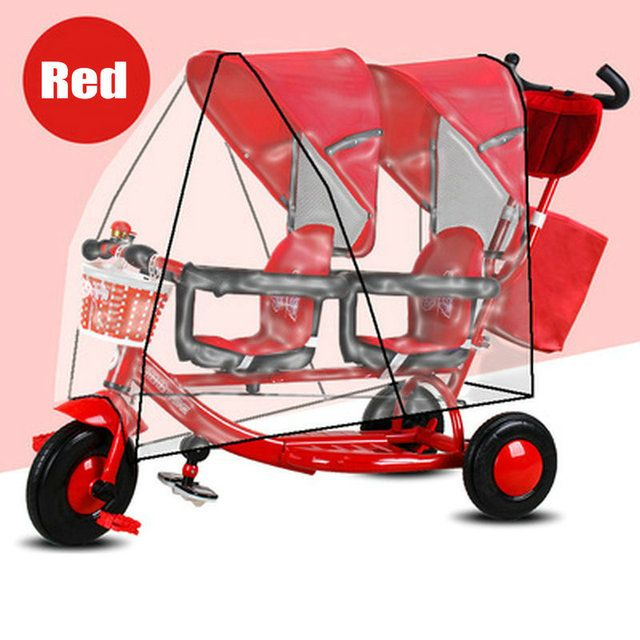 2 Children Bicycle with Rain Cover, Twins Kids Trike with Rotatable Seat, 3 Wheel Kids Tricycle with Double Canopy