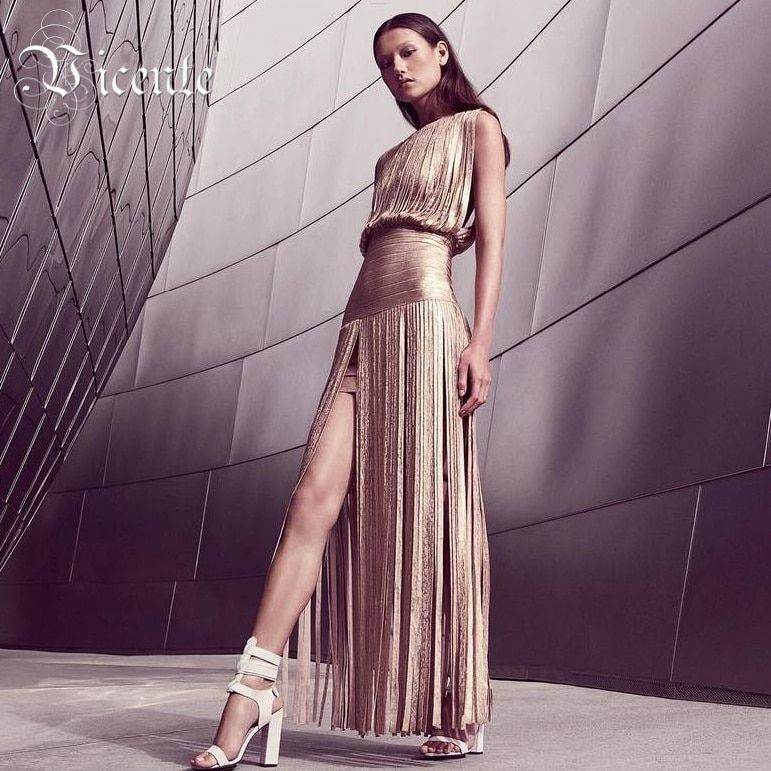 Vicente HOT 2019 New Fashion Elegant Oil Print Tassels Embellished Gown HL Celebrity Maxi Long Bandage Dress