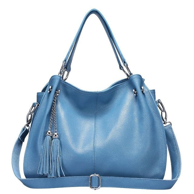 Casual Women Genuine Leather Handbags Soft Tassel Leather Women Bags Designer Handbags High Quality Shoulder Bags 45