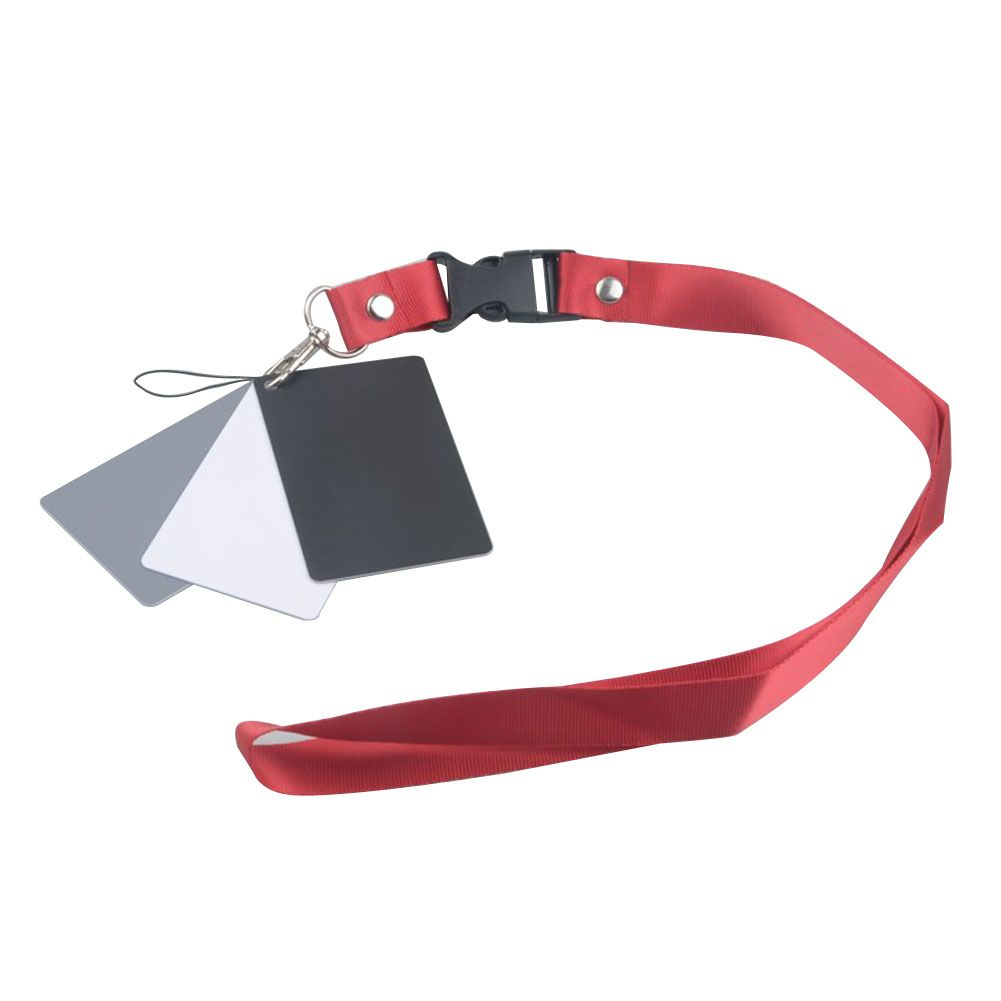 Digital Camera 3 in 1 Pocket-Size White Black Grey Balance Cards 18% Gray Card with Neck Strap for Digital Photography
