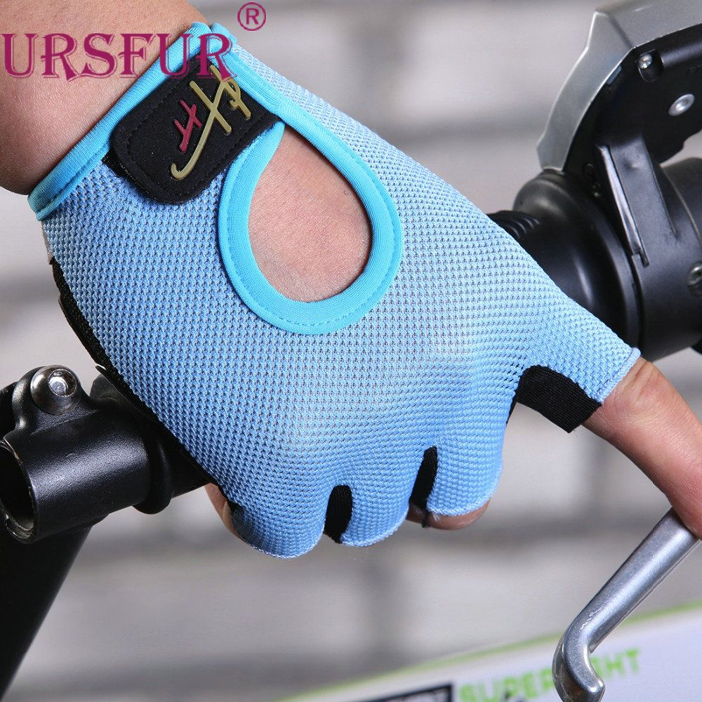 URSFUR Non-Slip Fingerless Gloves Men Women Half Finger Gloves for Fitness With Gel Padded Lycra Work Out Mittens