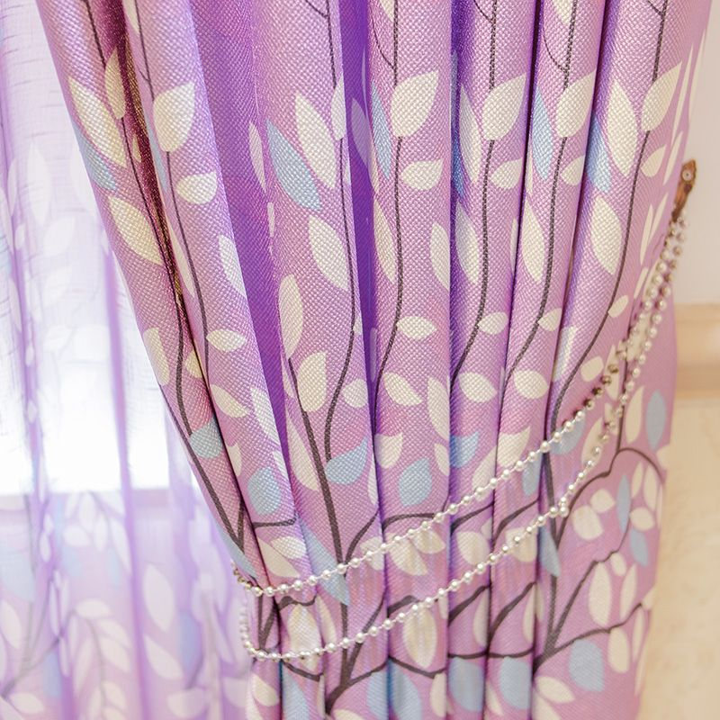 2 Pieces/Lot High-grade Environmental Protection Linen Fabric Romantic Purple Leaves Marriage Room Decor Curtain.