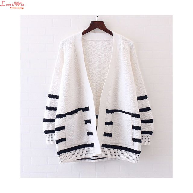 Bust 110cm Oversized White Black Classic Stripes Thick Knitting Cardigans Women Long Sleeve Cute Simple Sweater Coat Chandail