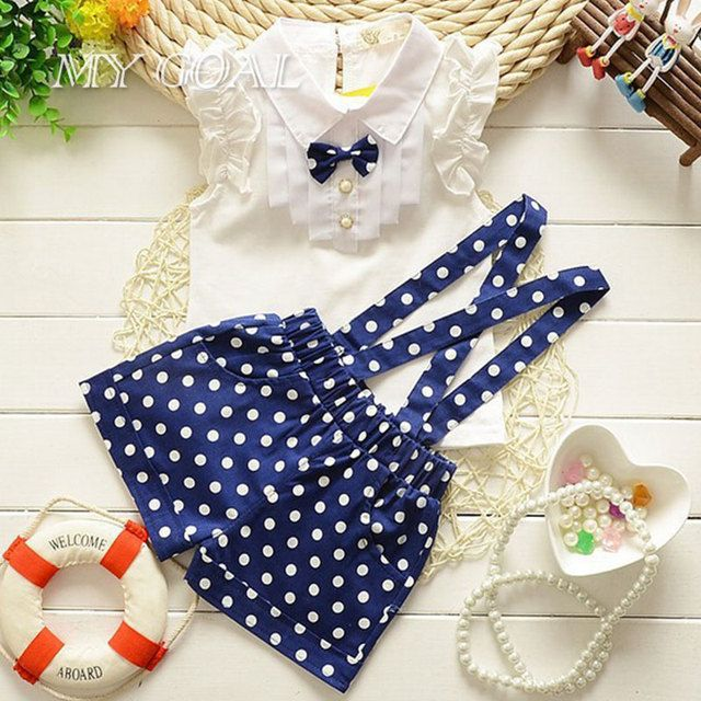 2016 summer style fashion bow t shirt+dot overalls two pieces baby toddler girl clothing clothes bodysuits new born cotton set